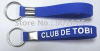 DHL Free Shipping-silicone bracelet keychain with customized logo;silicone wristband keyring;customizing gifts K002