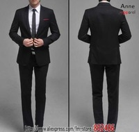 High quality New style of groom suits two button Wool men wedding suit Black Dress Suit brand sets (suit + pants+ Tie) SU08
