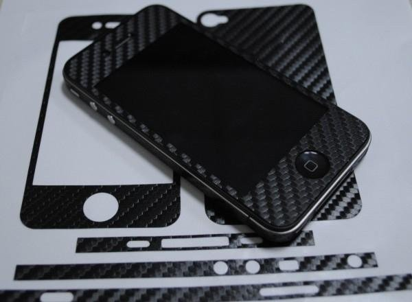free shipping+Fashion carbon fiber skin Full Body sticker for iphone 4 4s(China (Mainland))