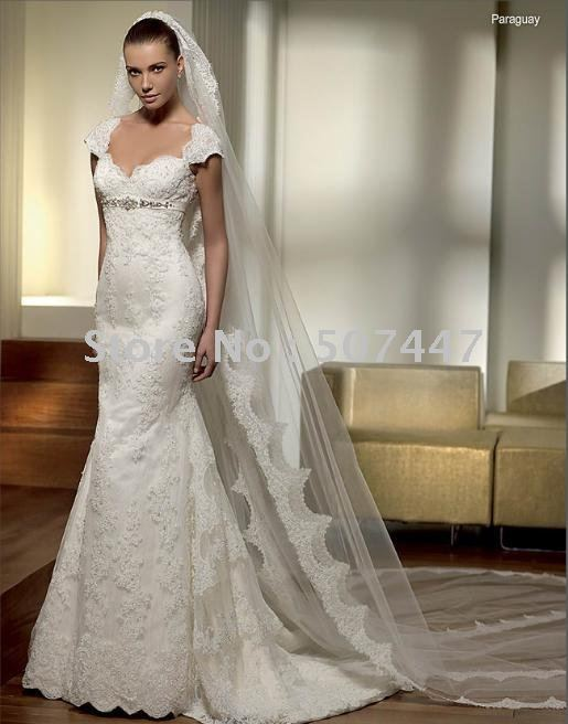 Slim A-line Lace Embellished Wedding Dress Bridal Gown(China (Mainland))