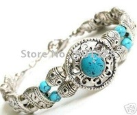 Free shipping Genuine Jewelry Tibet silver Jade Bracelet Bangle
