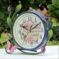 Free shipping wholesale and retail Europe garden style iron desk clock/ flower clock