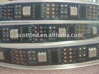 5m/roll led digital flexible strip.WS2801 IC(256 scale,8 bit),32pcs 5050 RGB leds/m;IP67 by silicon tubing,DC5V input,black PCB