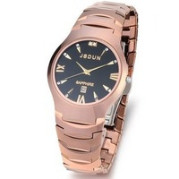 FREE SHIPPING men's luxury watch quartz movement waterproof Tungsten steel sapphire rose gold round dial Roman scale dial 6003
