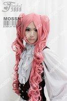 One Piece Perona Pink Long Wavy Cosplay Wig Clip 75cm