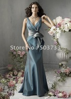 v-neck elegant bridesmaid  prom gowns  celebration dress customize online sale EMS free shipping PB004
