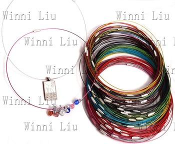 "free shipping100 WHOLESALE lots multicolor Steel Wires Necklace Chokers Cords finding For DIY bead pendant jewelry accessory18""L"