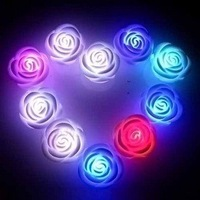 Hot sale 100pc/ lot color Changing LED Rose Flower, LED Candle lights+Fulfillment shipping
