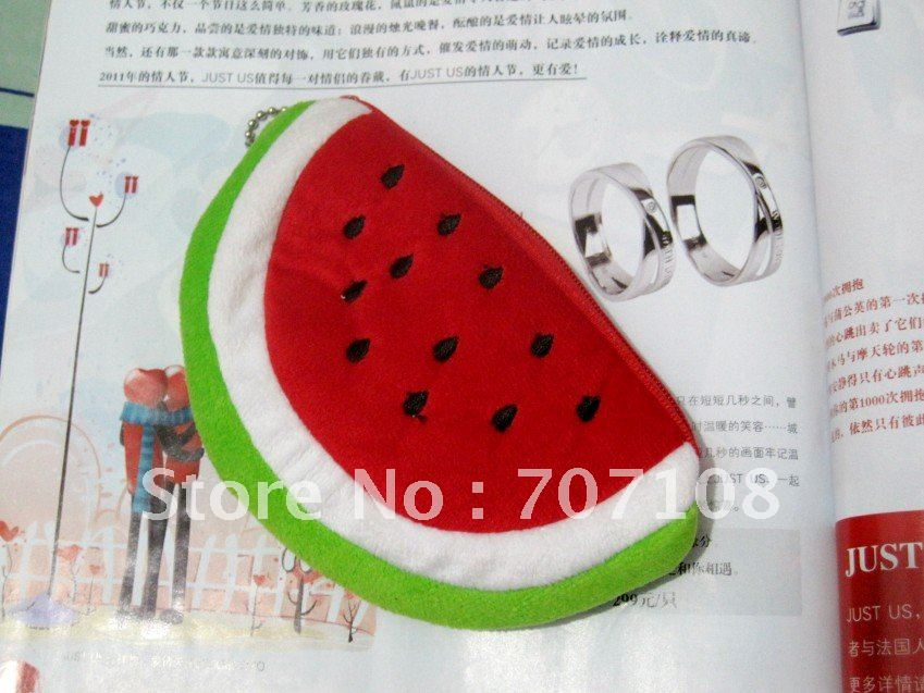 Free Shipping Sweet Watermelon Coin Purse, coin wallet, changes purse with good quality cotton and Nylon for wholsale P004(China (Mainland))