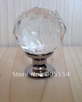 20pc/lot Free shipping D30mmxH42mm brass base multi-faceted cutting crystal glass kitchen knob