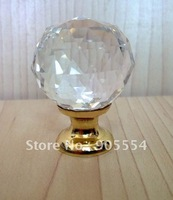 D30mmxH42mm 20pcs/lot Free shipping brass base transparent crystal glass furniture knob