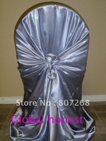 Free shipping-  self-tie  dark silver satin chair cover-satin chair bag-satin wrap chair cover