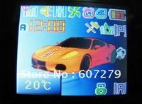 original korean color display car alarm/push button start/PKE/passive keyless entry/RFID/long range remote start/FCC emark