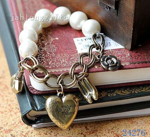 New Arrival! Ladies Romantic Pearl Braclet with Alloy Slipper + Heart Charm Fashion Jewelry 30pcs/lot Free Shipping(China (Mainland))
