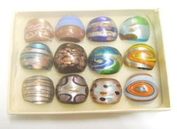Free Shipping 12pcs/lot Fashion Mix Color Lampwork Glass Ring RI1