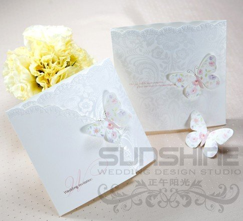 invitation card wedding cards W1134 butterfly wedding card come with
