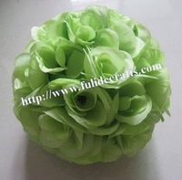 25cm artificial flowers ball with green leaf,wedding kissing ball,party decoration flower ball 15pcs/lot,20 color,more size