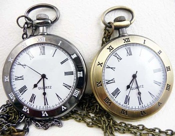Free shipping 6pcs pocket watch 47mm bronze antique pocket watch with chain quartz pocket watch with battery