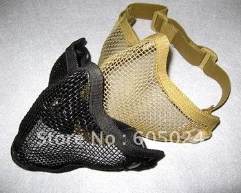 Wholesale 30pcs Tactical Hunting TMC Metal Steel Wire Half Face Mesh Airsoft Mask BB Gun Black/Khaki Free Shipping!