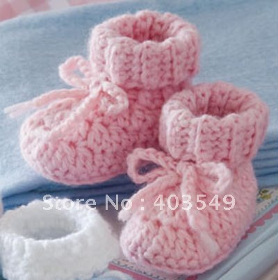 crochet baby booties,with flower on uppers, color/size customized, 100%handmade, 30 pars/lot, unisex(China (Mainland))