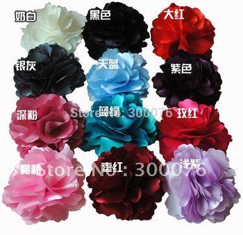 "2 in 1 silk flower hair clip pins brooch 3"" Peony flower garment accessories"
