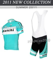 Free Shipping!! MEN'S CYCLING JERSEY+BIB SHORTS 2011 BIANCHI EDITION-BLUE-SIZE:S-4XL
