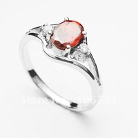 silver ring-small three drill peach heart big zircon (color free choice)