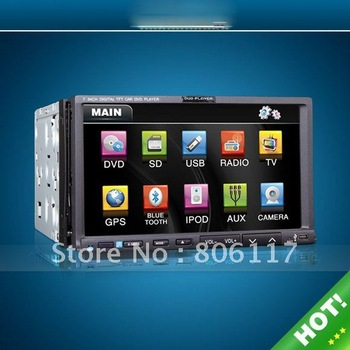 7 inch 800*480 HD Digital TFT-LCD Touch Screen Universal HOT 2 DIN CAR DVD WHIH GPS Model:ZS-TD706W
