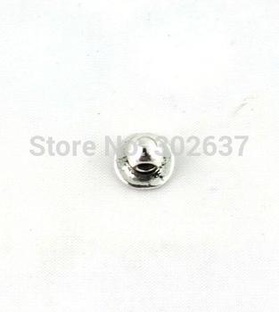 FREE SHIPPING 300PCS Tibetan silver flat round bail beads A13384