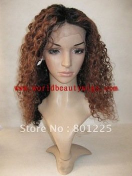 "free shipping-  Stock 16""two tone color curly human hair full lace wig top quality"