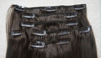 DHL free shipping, human hair clip in hair extension, 20inch, 2#, 100g/pc, hot sale