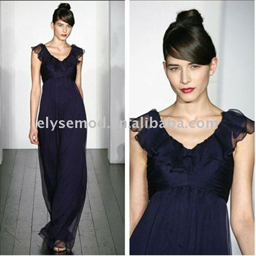 Fabulous Chiffon Ankle Length Navy V-neck Cap Sleeves Bridesmaid Dress(China (Mainland))