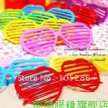 Wholesale Colorful Heart style shutter Glasses glass blinds Party glasses window shade sunglasses 100pcs/lot free shipping(China (Mainland))