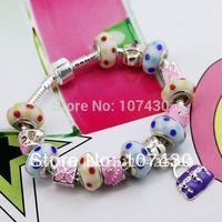 HOT SALE European Style 925 Silver Pandoraglass Bracelet and Bangle With Murano Glass Beads Jewelry no Minimum Order PA3055