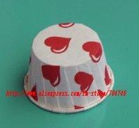 900pcs medium Cupcakes round muffin paper cake cup cake case with red hear,  5cm*3.9cm*6.5cm