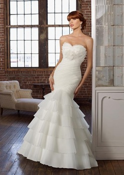 FAST FREE SHIPPING! CUSTOM-MADE 2010 HOT SALE Glamorous mermaid sweetheart organza DESIGNER lazaro Bridal Wedding Dress