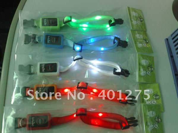 led pets collar fashion dog product many color 20pcs free shipping(China (Mainland))