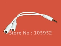 100pcs/lot Earphone Headphone Splitter,Audio Spliter,headphone Jack 3.5mm Y Adapter 1 Plug To 2 Jacks Cable