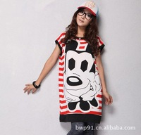 2011 new loose big size Mickey Mouse's head is women's long T-shirt with free shipping