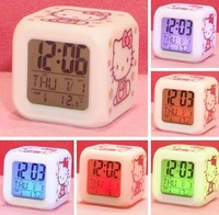 Wholesale price Hello kitty LED Change 7 Color Digital Alarm Clock 4pcs/lot