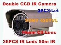 Double CCD Camera 04,Surveillance IR Waterproof Camera ,420TVL 16mm CS Lens 36PCS IR Leds 50m IR Camera,2pcs/lot