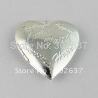 FREE SHIPPING 20PCS Silver Plate Word Heart Locket Pendant 42x40mm #20399