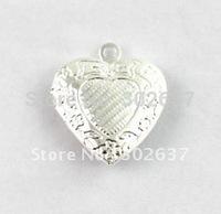 FREE SHIPPING 50PCS Silver Plt Pattern Heart Locket Pendant 20mm #20406