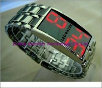 Free shipping 2pic/lot Mirror Iron watch Samurai Red/Blue LED Watch with package