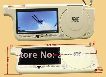 """7"""" inch Car Un-Visor/SunvisorLCD Monitor DVD player MP3+MP4+USB+SD Free Shipping"""
