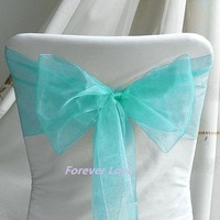 100% quality assurances  free shipping 100pcs  AQUA BLUE Wedding Party Banquet Chair Organza Sash Wholesale and Retail