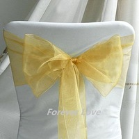100% quality assurances  free shipping 100pcs GOLD YELLOW Wedding Party Banquet Chair Organza Sash Wholesale and Retail