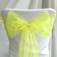 100% quality assurances  free shipping by EXPRESS 100pcs YELLOW Wedding Party Banquet Chair Organza Sash Wholesale and Retail