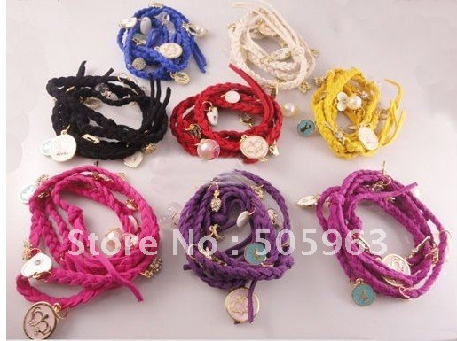 Hot selling braid leather bracelets.fashion bracelet,mix colors, charm bracelet jewelry jewellery Free shipping(China (Mainland))