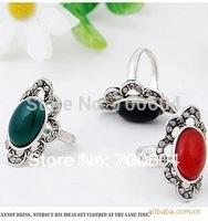 2pcs/lot Sale 2014 fashion Wholesale women ellipse stone vintage Magic Mirror Zircon Rings lady fashion jewelry